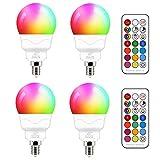 E14 Led Lampe 5W (ersetzt 40W) RGBW mit Fernbedienung kaltweiße 5700K Ambiente RGB Farbwechsel...
