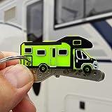 3x Schlsselanhnger Wohnmobil Reisemobil Kastenwagen Campingbus mit Schlsselring vernickelt 26mm (Typ...