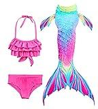 Hifunbay mädchen Meerjungfrau Schwanz Kinder Schwimmen Kostüm Enthalten 3 STÜCKE Bikini Badeanzug...
