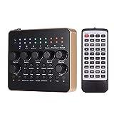 Mischpult Tragbare wiederaufladbare Live Sound Card Voice Changer Built-in Multiple Soundeffekte BT...