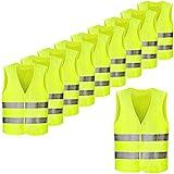 FEMOR Warnwesten 10 Stück Auto Gelb 360 Grad Reflektierende Sicherheitswesten Pannenwesten für...