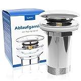 Badisan Ablaufgarnitur Pop Up für Waschbecken & Waschtisch - Universal Ablaufventil mit Überlauf...