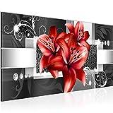 Bilder Blumen Lilien Wandbild 100 x 40 cm Vlies - Leinwand Bild XXL Format Wandbilder Wohnzimmer...