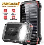 Solar PowerBank 26800mAh QI Wireless Solarladegert Schnelles Aufladen Externer Akku Tragbare 4...