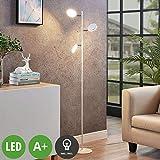 Lindby LED Stehlampe 'Amrit' (Modern) in Weiß aus Metall u.a. für Wohnzimmer & Esszimmer (3...