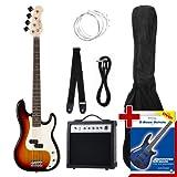 Rocktile Groover's Pack PB E-Bass Komplettset Sunburst (Verstrker, Tasche, Kabel, Gurt, Ersatzsaiten...