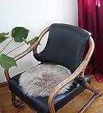 HEITMANN runde Sitzauflage aus australischen Lammfellen, Fellkissen rund Taupe, Ø ca. 45 cm,...