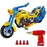 HERSITY Motorrad Spielzeug Montage Auto Kinder mit Lichtern und Sound DIY 2-in-1 Rennwagen Große...