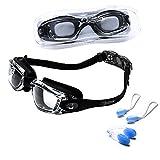 riptide Schwimmbrille - Taucherbrille in schwarz I mit Ohrenstöpsel und Nasenklammer I für...