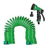 Relaxdays, grn Gartenschlauch mit Brause, flexibel ausziehbar bis 10m, Spiralschlauch, Gartenbrause...