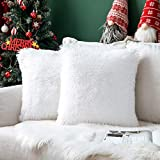 MIULEE Weihnachten 2er Set Flauschige Kunstfell Kissen Soft Künstlich Pelz Throw Kissenbezug...