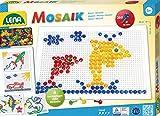 Lena 35606 - Mosaik Steckspiel Set mit 260 transparent farbigen Mosaikstecker je 10 mm und...