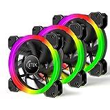 ICETEK Gehäuselüfter LED RGB Farbwechsel Beleuchtung PC 120mm 3er Pack 366 Modi mit Controller und...
