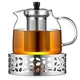 ecooe 1000mL Teekanne mit Stvchen Teebereiter Glas und Edelstahl Teewrmer