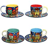 Gall&Zick Set/4 Espressotasse mit Untertasse Mokkatasse Untersetzer Unterteller Tasse Kaffeetasse...