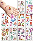 MEIXI Tattoo Kinder Meerjungfrau Tattoos Set,20 Blätter wasserdichte Kindertattoos ,...