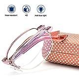 HLILY Kompakte zusammenklappbare Lesebrille Anti-blaues Licht, Metallhalbrahmen Brille,...