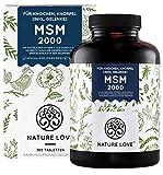 NATURE LOVE® MSM 2000mg mit Vitamin C - 365 laborgeprüfte Tabletten - Kompakteres MSM Pulver als...