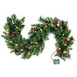 1,8M Tannengirlande Künstlich 8 Modi LED Grüne Weihnachtsgirlande Deko Weihnachtsgirlande mit...