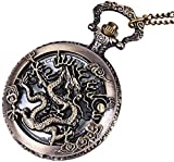 Taschen-Uhr Personalisierte Bronze Zodiac Theme Serie Dragon Hohl Quarz Taschenuhr Zodiac...