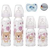 NIP Glas Flasche Uni // 4er Set // Glas-Babyflasche // 2 x Standardglasflasche 250 ml Trinksauger...