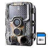 Crenova 20 MP 4K Wildkamera mit 32 GB SD-Karte 47pcs-940nm-IR-LEDs für 20m Nachtsicht und IP66...