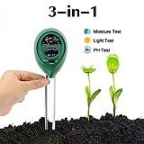 Abafia Bodentester, 3 in 1 Boden Feuchtigkeit und PH, Lichtintensität Bodentester Kein Batterien...