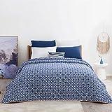 Bedsure Tagesdecke Schlafzimmer 240 x 260 cm, gesteppt überdecke tagesdecken 240 x 260 blau samt,...