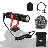 Moukey Kamera Mikrofon Video Mikrofon Video Kondensator Mikrofon MCM-1 mit Stoßdämpfer, Windschutz...