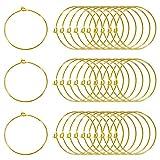 TOAOB 100 Stück 30mm Golden Wein Glas Charme Ringe Ohrring Glasmarkierer für Weinglas Creolen...
