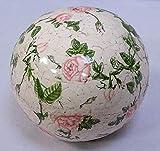 linoows Rosenkugel, Landhaus Gartenkugel Rosenmuster, Keramik Kugel, 12 cm