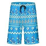 Ainiteey gedruckt Beach Shorts Badehose Badeanzge schnell trocknen mit Elastic Waistband White 3XL