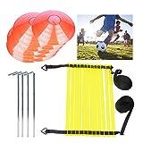 DBREAKS Fußballtrainning Set (4 pcs) mit Koordinationsleitern und Kegel, Metallnägel & Tragetasche...