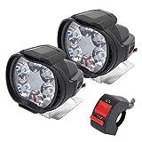 2 Stück Universal-Scheinwerfer für Motorrad, wasserdicht, 6 LEDs, Motorrad-Scheinwerfer,...