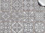 Tile Style Decals 24x Mosaik Wandfliese Aufkleber (T1Grey) für 15x15cm Fliesen 24 stück...