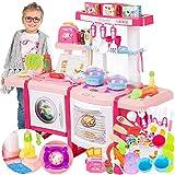Kinderküche Spielküche Spielzeug Küche KP6030 mit Zubehör Zubehörteile Rosa Neu...