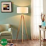 Lampenwelt Dreibein Stehlampe 'Mya' (Fr Kinder, Junges Wohnen) in Wei aus Textil u.a. fr Wohnzimmer...