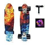Sumeber Skateboard Kinder Mini Cruiser Skateboard Komplette 22 Zoll mit LED Leuchtrollen Skateboard...