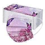 Amuse-MIUMIU 50 Stück Rosa Schmetterling Druckmuster Einmal-MundschutZ, Staubschutz Atmungsaktive...