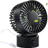 AYOUYA USB Mini Ventilator Tischventilator mit Standfu & Einstellbaren Winkel, 2 Geschwindigkeiten,...