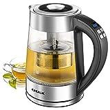 CHULUX Wasserkocher Glas, Teekocher, herausnehmbares Teesieb, Temperatureinstellung,...