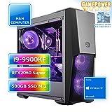 M&M Computer HighEnd PC Wasserkühlung RGB, Intel i9-9900KF CPU, RTX 2060 Super 8GB, 480GB SSD M.2...