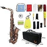 ammoon Profi-Saxophon Rotguss S-Bogen E flat Altsaxophon Alto Blasinstrument Abalonemuschelklappen...
