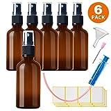 6x50ml Sprühflasche Klein Glasflasche mit Zerstäuber - Apothekerglas spruehflasche aus Braunglas...