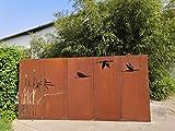 Zen Man 5er Set Edelrost Garten Sichtschutz aus Metall 1mm Rost Gartenzaun Gartendeko Rost...