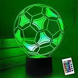 Coopark Kinder Nachtlicht Fußball 3D Optische illusion lampe mit Fernbedienung 16 Farben Ändern...