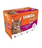 Iams Delights Senior Nassfutter (fr ltere Katzen ab 7 Jahre mit viel Huhn in Sauce, Multibox), 12...