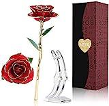 24K Gold Rose,Ewige Rose Handgefertigt Konservierte Rose mit Stand und Geschenkbox für Frau...
