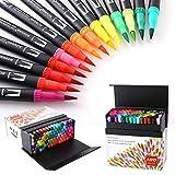 100 Verschiedenen Farben Marker Set, Pinselstift Set Fasermaler, Aquarell Pinselstifte Marker Stift...
