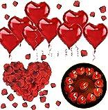 SANBLOGAN Romantische Deko, 1000 Rosenblätter+50 Rot Teelichter+10 Rot Folienballon, Romantisch...